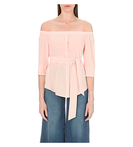 d148a28fb893c WHISTLES Flavia off-the-shoulder silk top (Pale+pink