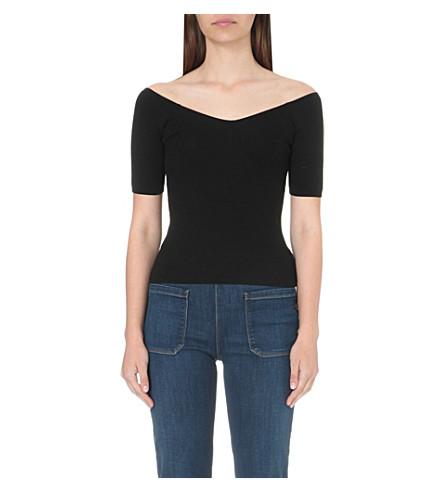 ad754ebfb0baa WHISTLES - V-neck Bardot cotton-jersey top