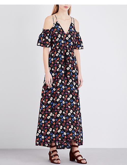 WHISTLES - Pansy-print silk maxi dress  17aa88786