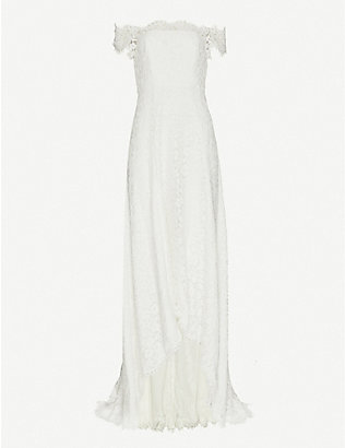 WHISTLES: Rose off-the-shoulder floral-lace wedding dress