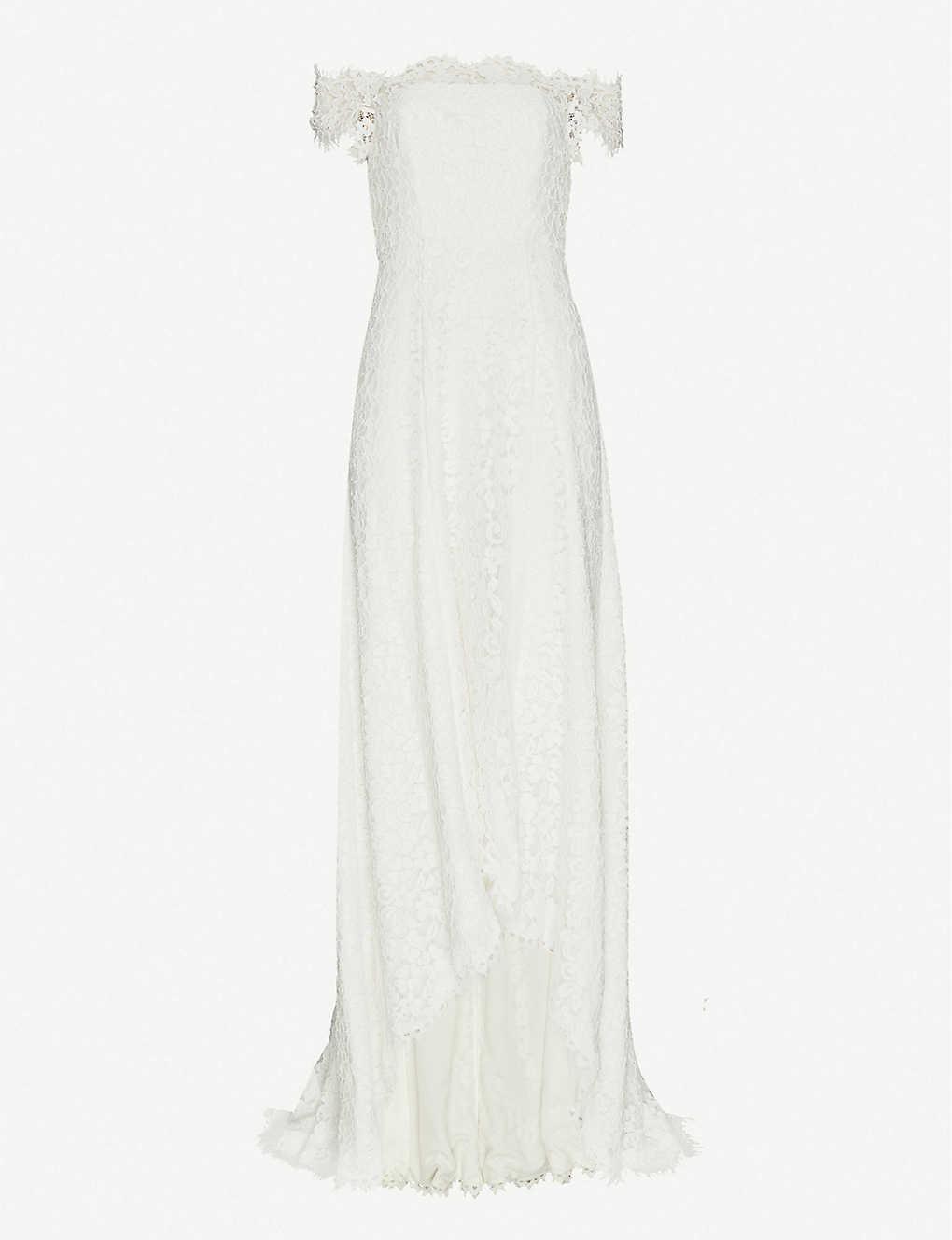 3984f37a8d74 WHISTLES - Rose off-the-shoulder floral-lace wedding dress ...