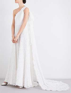 WHISTLES Juliet asymmetric fit-and-flare wedding gown