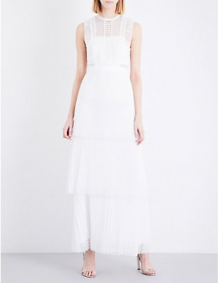 WHISTLES: Theodora pleated floral-lace wedding dress