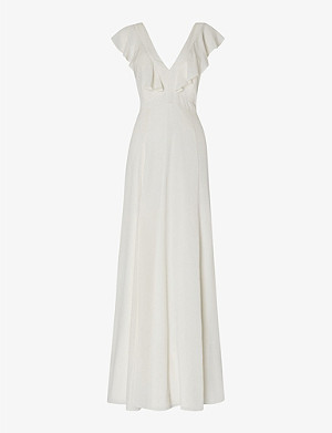 WHISTLES Eve ruffled silk wedding dress