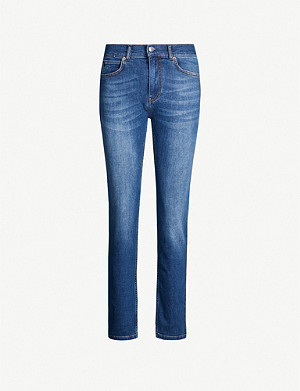 WHISTLES Skinny mid-rise stretch-denim jeans