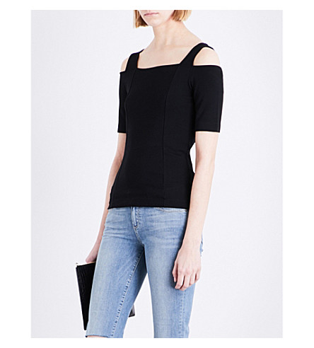 33f29a6f05dc6 WHISTLES Cold-shoulder knitted jersey top (Black
