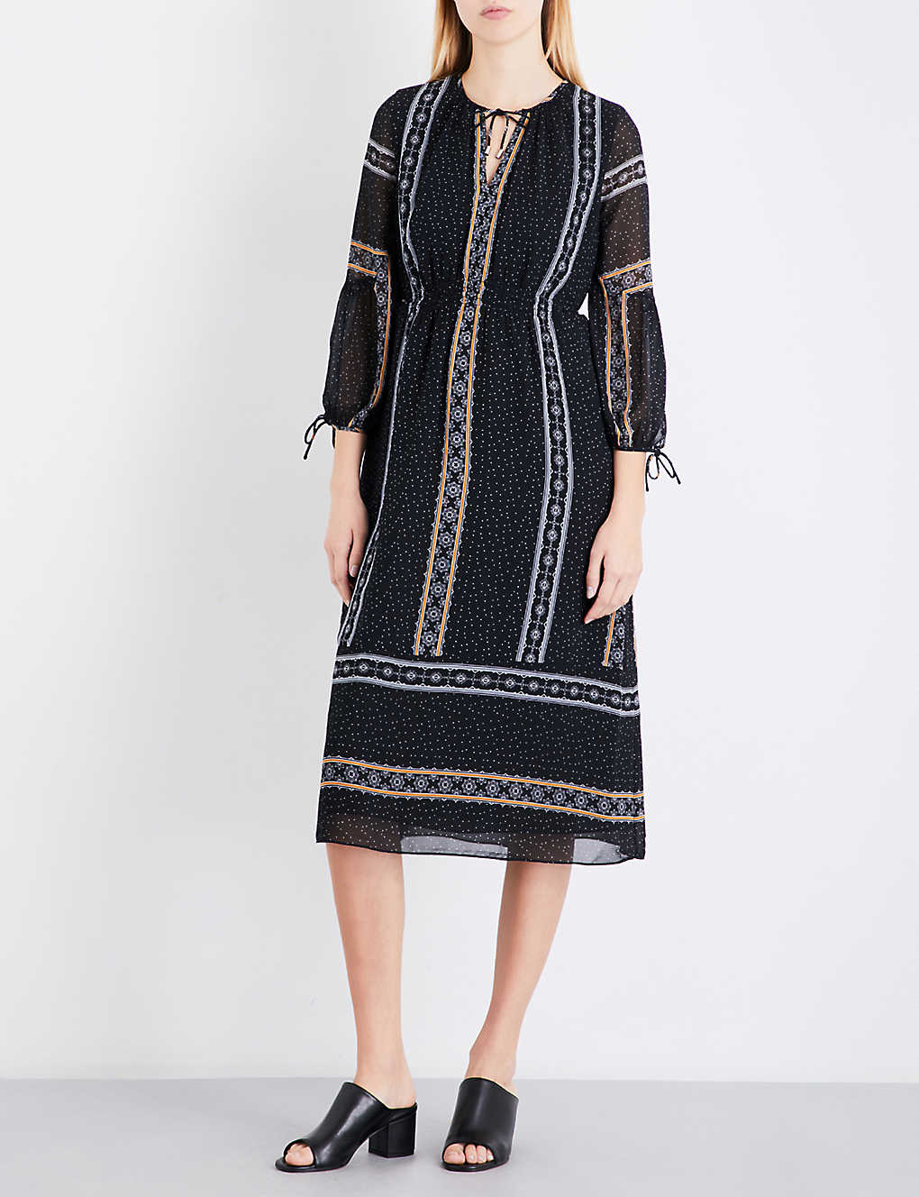 686dd52f0ea93f WHISTLES - Scarf-print chiffon midi dress