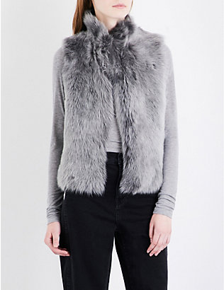 WHISTLES: Cropped shearling gilet