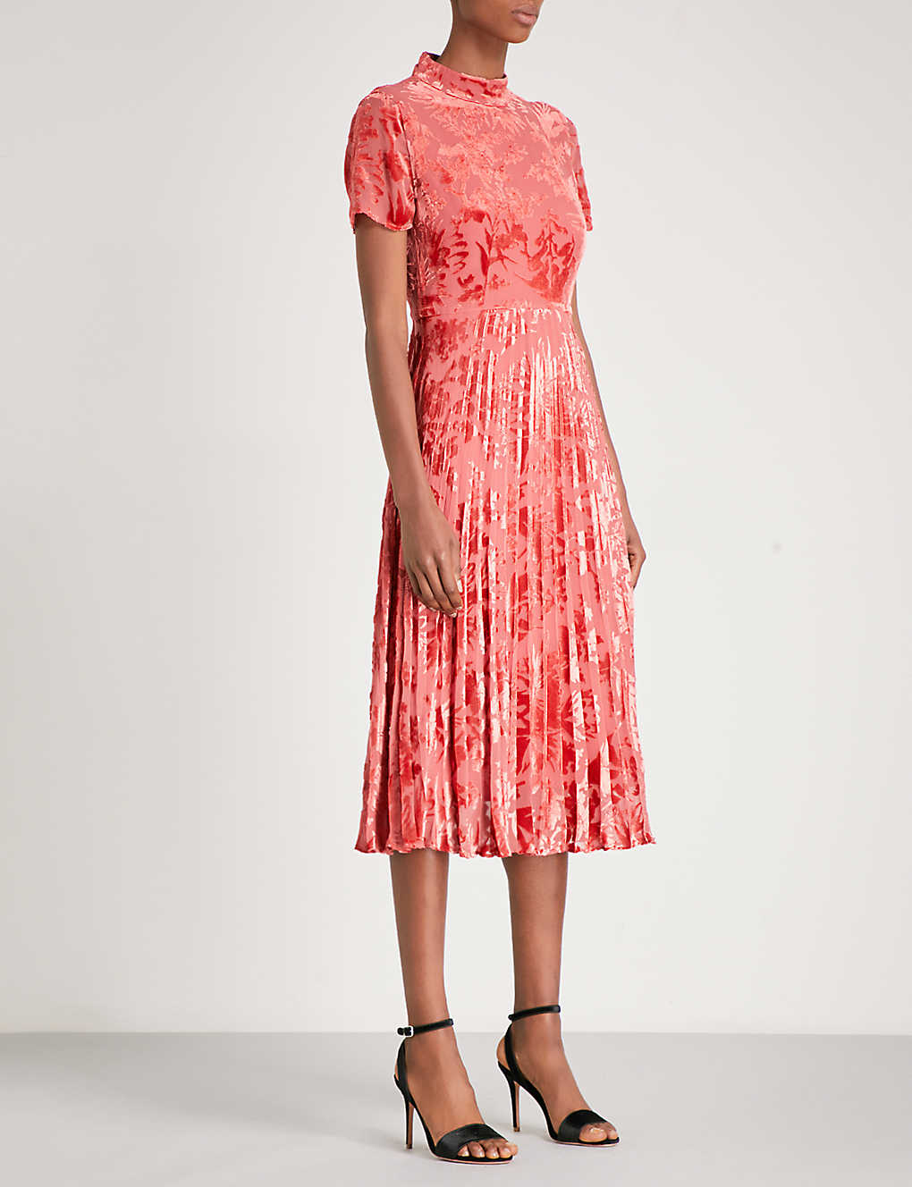 d6f085d58e WHISTLES - Harlow pleated devoré midi dress | Selfridges.com