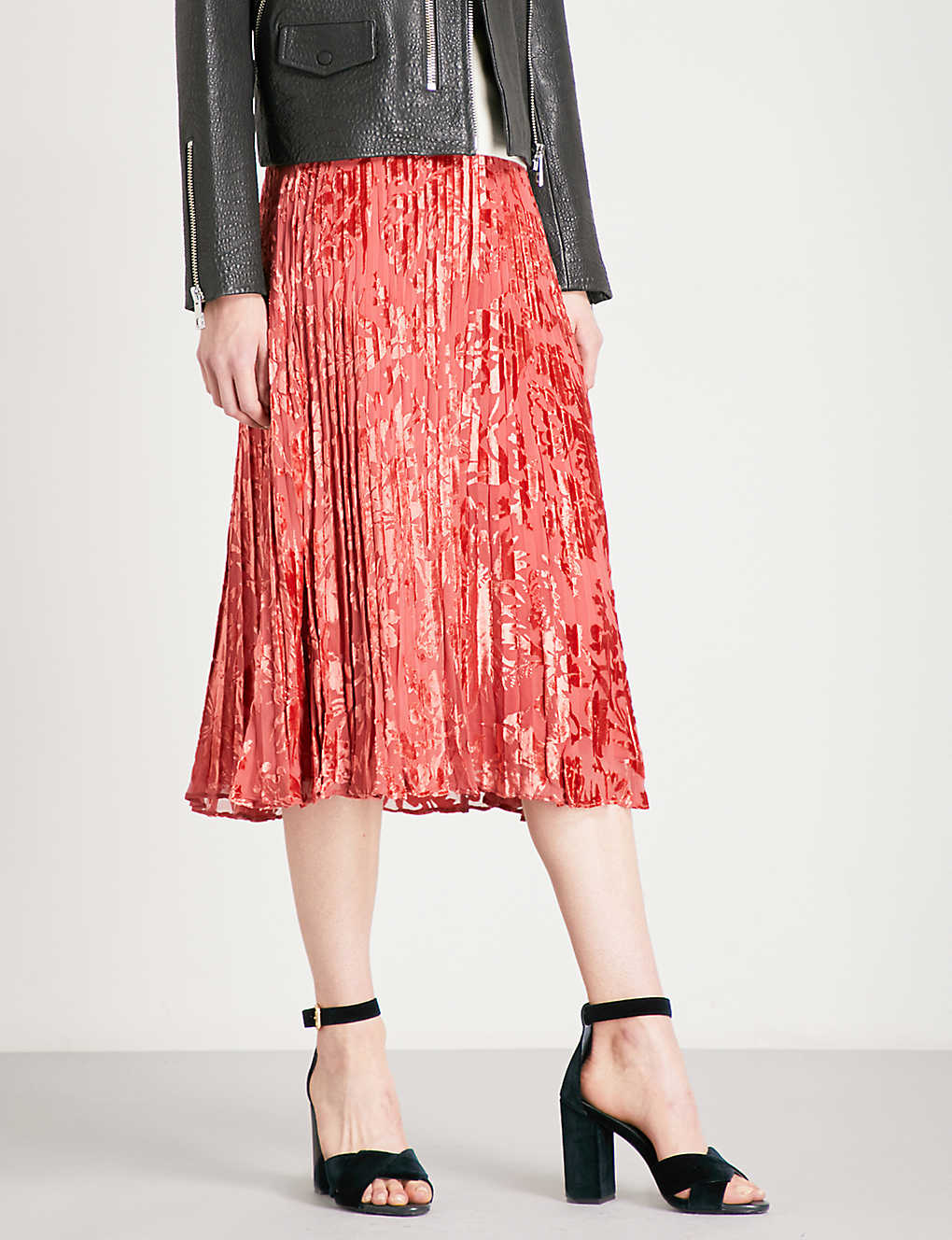 472dbf1e95 WHISTLES - Harlow pleated devoré skirt | Selfridges.com