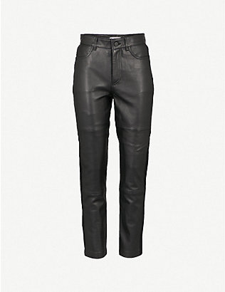 WHISTLES: Side-panel skinny high-rise leather trousers