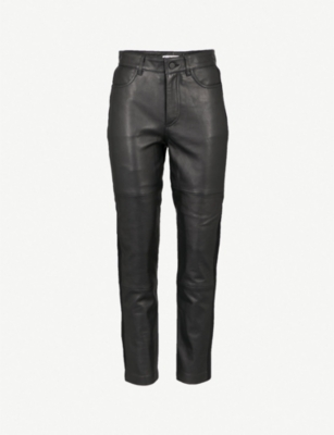 WHISTLES Side-panel skinny high-rise leather trousers