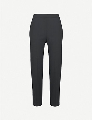 WHISTLES: Anna high-rise tapered wool-blend trousers