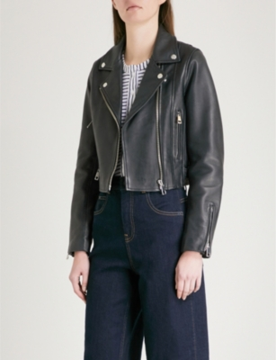 pick up promo codes look for WHISTLES - Rose cropped leather biker jacket | Selfridges.com