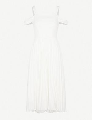 WHISTLES Clementine cold-shoulder pleated wedding dress