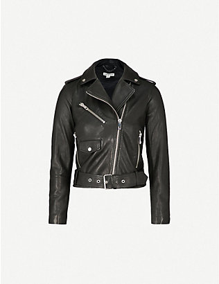 WHISTLES: Agnes belted leather biker jacket