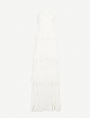 WHISTLES Isla tiered lace-trimmed silk crepe-de-chine wedding dress