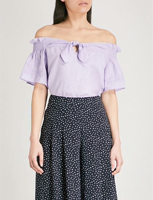 d8734377714dff WHISTLES - Mandy floral off-the-shoulder silk top