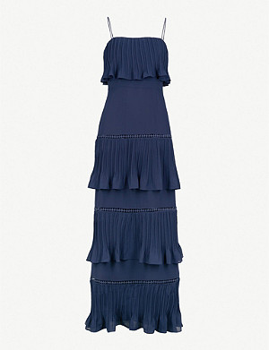 WHISTLES Tiered pleated crepe dress