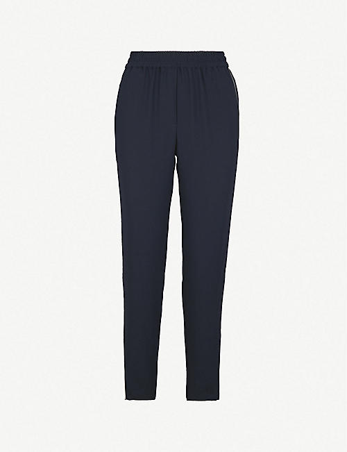 a0695a721a WHISTLES Elyse side-stripe mid-rise tapered crepe trousers
