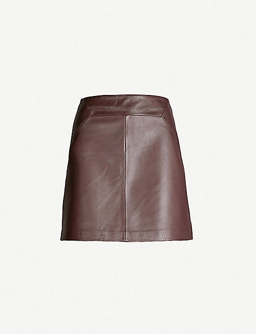 WHISTLES A-line leather skirt