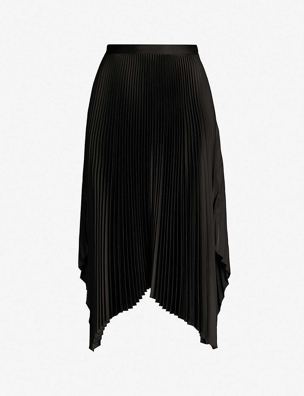5eaf1466c1 WHISTLES - Asymmetric pleated satin skirt | Selfridges.com