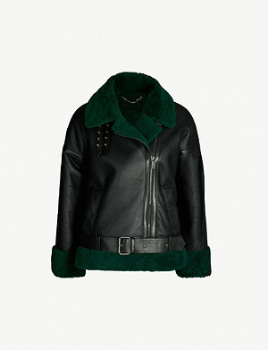 WHISTLES Contrast shearling-lined leather jacket