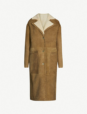 WHISTLES Reversible suede and shearling longline coat