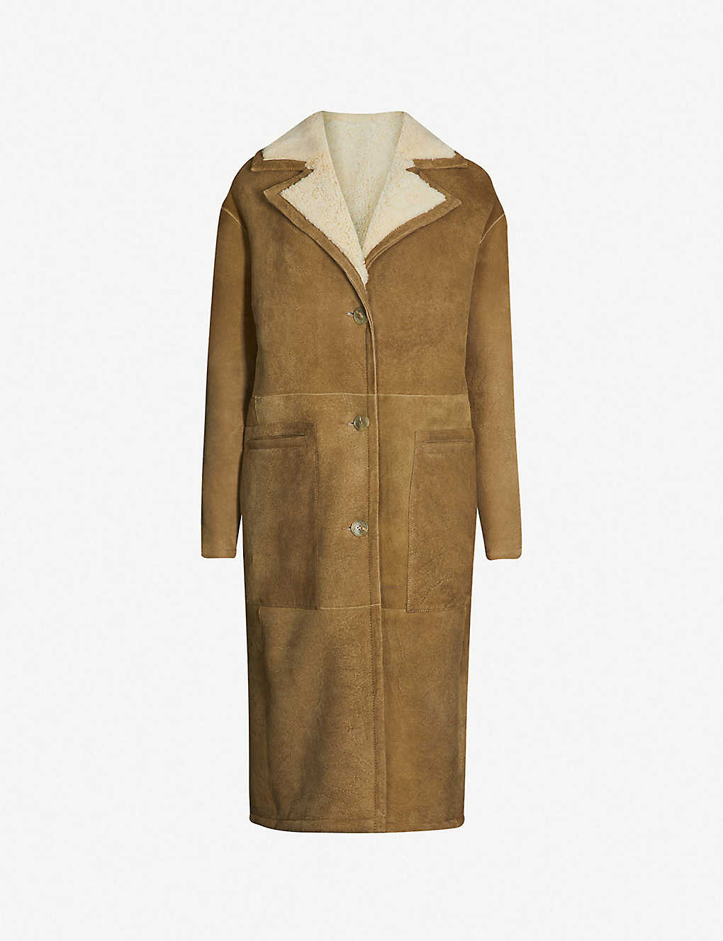 WHISTLES: Reversible suede and shearling longline coat