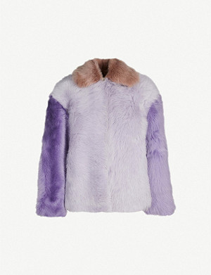 WHISTLES Colour-block shearling jacket