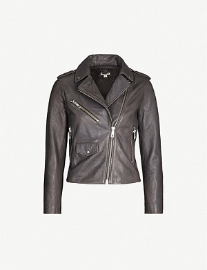 WHISTLES Agnes zipped leather biker jacket