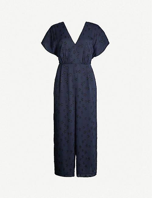 219e81c3e292 WHISTLES Waist-tie back star-jacquard woven jumpsuit