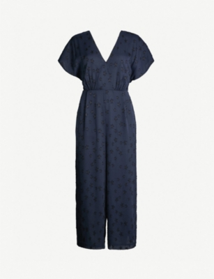 WHISTLES Waist-tie back star-jacquard woven jumpsuit