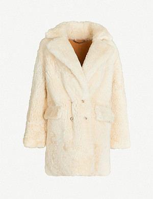 WHISTLES Borg double-breasted lamb-leather and faux-fur coat