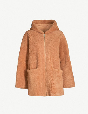 WHISTLES Hooded shearling coat
