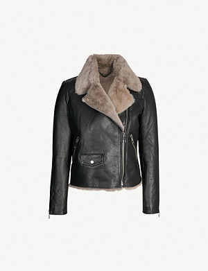 WHISTLES Agnes faux-fur lined leather jacket