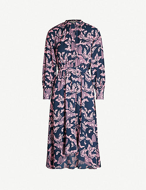 7284177f6c855 WHISTLES Butterfly-print crepe shirt dress