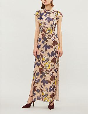 WHISTLES Bernadette Montrose-print silk-chiffon dress 7a6f7293b