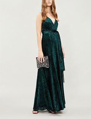 WHISTLES Waist-tie tassel-trim velvet maxi dress 57db73bb9