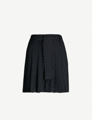 WHISTLES Polka dot-print high-rise crepe shorts