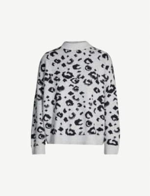 WHISTLES Leopard-pattern knitted jumper