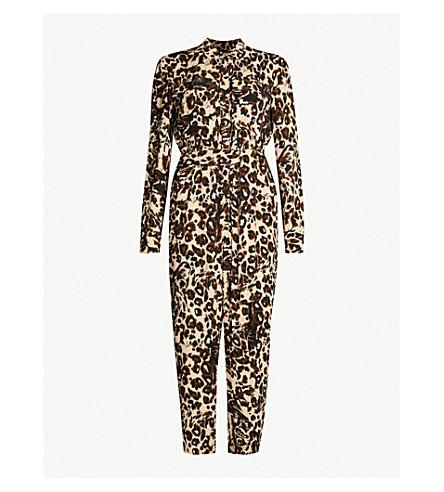 8b1633389f WHISTLES Jungle Cat waist-tie crepe jumpsuit (Multi-coloured