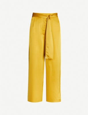 WHISTLES Waist-tie wide-leg woven trousers