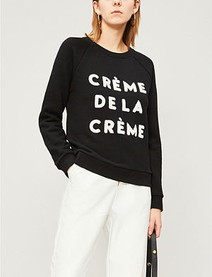 25e552156 WHISTLES Crème de la Crème-embroidered cotton-jersey sweatshirt