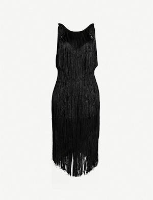 WHISTLES Evena fringed low-back dress