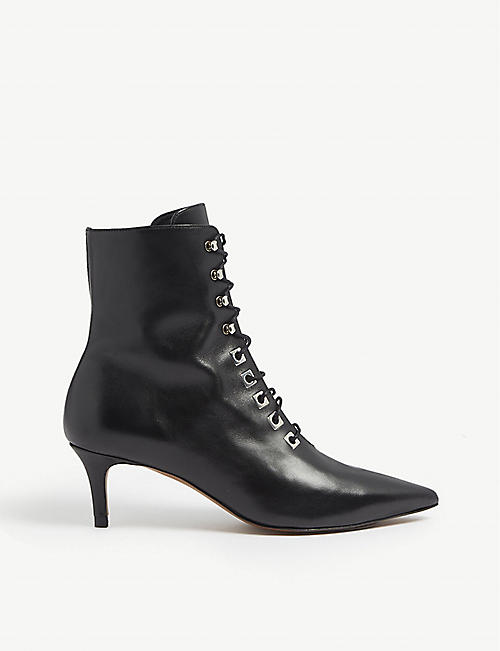 WHISTLES Celeste leather kitten heel boots