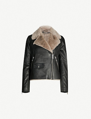 WHISTLES Agnes leather and faux-fur jacket