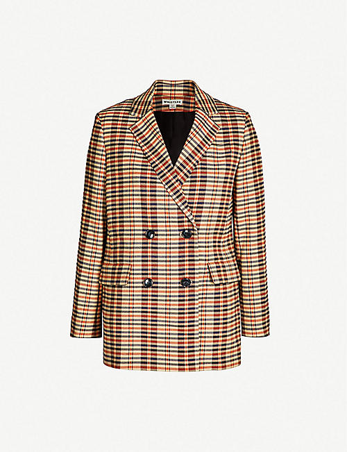 a3d1006be4a WHISTLES Checked double-breasted woven blazer