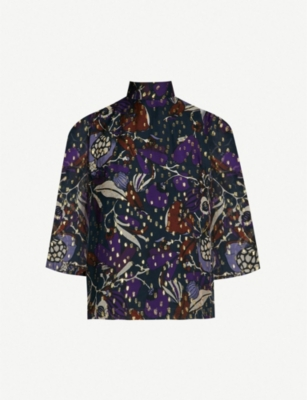 WHISTLES Montrose Dobby abstract print chiffon blouse