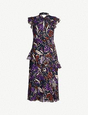 WHISTLES Montrose Dobby printed chiffon midi dress
